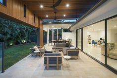 Contemporary Outdoor Living And Dining | Timber Feature Ceiling | Haiku Fans | North Lakes Pool & Entertainment Area Design | dion seminara architecture