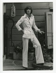 Vintage fashion photo - 1970s - womens fashion model - vest jacket trousers ensemble - black and white photo - lady girl by GRAINSofBrussels on Etsy