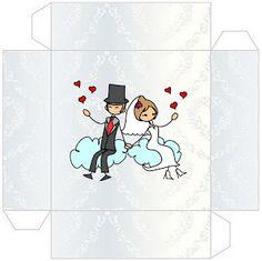 Novios con globos y corazones: cajitas para imprimir gratis para bodas.