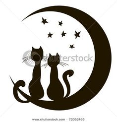 Cats Sitting On The Moon Decal – Cats – Wall Decals & Stickers – Cat Supplies Silhouette Chat, Silhouette Portrait, Cat Quilt, Cat Wall, Cat Sitting, Cat Tattoo, String Art, Rock Art, Painted Rocks