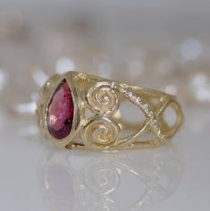 Unique Engraved Gold Ring, Diamonds and Tourmaline Ring, Celtic Ring, Small Diamonds, 14k Yellow Sol