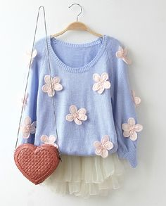 Light Blue Long Sleeve Applique Loose Sweater
