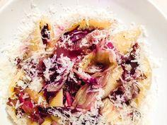 Paste de dieta - 430 de calorii, cu pancetta, radicchio și parmezan