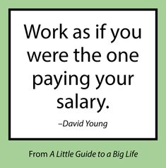 Work as if you were the one paying your salary. -David Young #ALittleGuide
