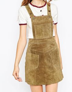 Image 3 of ASOS Mini Skirt in Suede with Dungaree Bodice