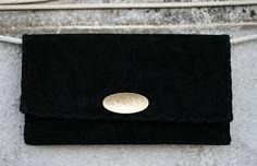Black Leather Clutch  Suede Evening Envelope by EleannaKatsira