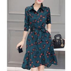 Plus Size Long Sleeve High Low Printed Dress with Belt Sexy Dresses, Cute Dresses, Vintage Dresses, Beautiful Dresses, Dress Outfits, Casual Dresses, Girls Dresses, Dress Shirts For Women, Clothes For Women