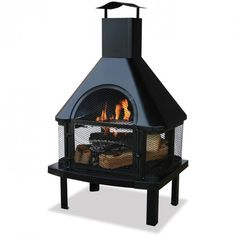 UniFlame Black Firehouse with Chimney #fall home #entertaining! #ZoostoresPIN2WIN