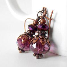 Beaded+Earrings+Plum+Purple+Faceted+Glass+Bead+by+CopperNichols,+$16.00