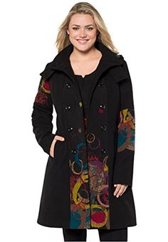 Roamans Women's Plus Size Multi Color Coat. (Black Multi,18 W) Roamans http://www.amazon.com/dp/B013V74F68/ref=cm_sw_r_pi_dp_0Vxbwb0B89Q4W