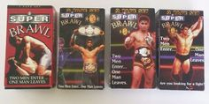 SUPER BAWL Ultimate Fighting Cage Fights Wrestle LOT of 4 VHS Double Boxed Tapes