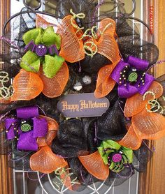 Halloween Mesh Ribbon Wreath (not available)
