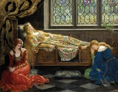 In this lovely painting, we see the sleeping Beauty with her attendants. All these medieval ladies look real pretty. This painting was made by John Collier. Art Memes, Memes Arte, Pre Raphaelite Paintings, Lawrence Alma Tadema, John Everett Millais, Image Blog, Illustration Art, Illustrations, Oil Painting Reproductions