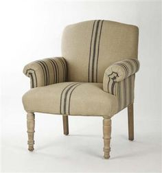 Rama French Country Blue Stripe Linen Club Chair