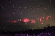 """Red Sprites Under a Starry Sky (composite)"" by Frankie Lucena (TWAN)"
