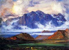 Brandwag Mountains painted by Hugo Naude in the early Spanish Painters, Dutch Painters, Italian Painters, Emigrate To Australia, French Impressionist Painters, African Artists, Edgar Degas, Mountain Paintings, The Dunes