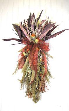 Autumn Door Swag  $39.00 dried floral, fall door swag, fall decor #dried_flowers  #fall_swag  #door_swag