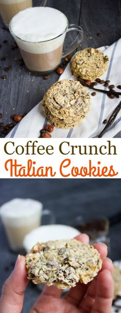 Crunch Italian Cookies - these simple cookies are light as air delicately crispy loaded with chunks of coffee beans and hazelnuts and not too sweet! The best thing? They are easy to make and only require a handful of ingredients! Potluck Desserts, Easy Desserts, Delicious Desserts, Dessert Recipes, Italian Desserts, Italian Dishes, Brunch Recipes, Italian Recipes, Breakfast Recipes