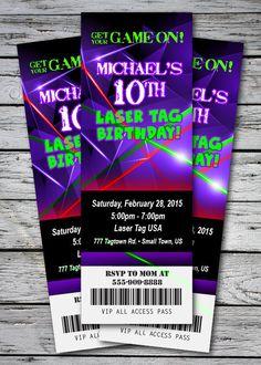 Laser Tag Party Neon Glow Ticket Style Invitation - U Print Cards Neon Birthday, 9th Birthday Parties, 7th Birthday, Birthday Ideas, Happy Birthday, Laser Tag Birthday, Laser Tag Party, Ticket Invitation, Printable Birthday Invitations