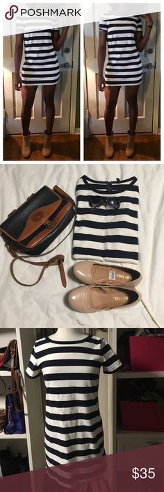 J. Crew stripes dress J. Crew navy blue and cream above the knee stripes dress with black straps around the neck. 100% cotton J. Crew Dresses Mini