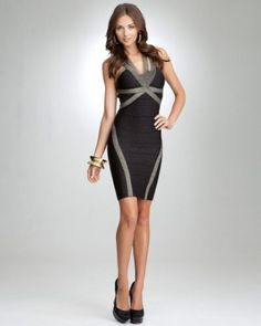 bebe Double Strap Lurex Bandage Bodycon Dress