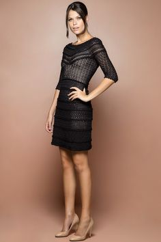 Vestido Crochet Princess Preto - Vanessa Montoro - vanessamontoro