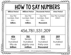 FREE! How to say numbers and decimal numbers freebie printable! Young Teacher…