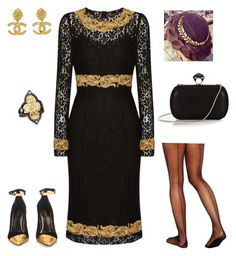 """""""Black&Gold"""" by kaydesp ❤ liked on Polyvore featuring mode, Dolce&Gabbana, Armenta, Chanel, Gipsy, Balmain en DVF"""