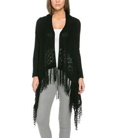 Look at this #zulilyfind! Black Fringe Drape-Hem Open Cardigan #zulilyfinds