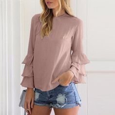 Women's Clothing Faithful Vintage V Neck Puff Sleeve Shirt Blouse Women Solid Spring Summer Bandage Womens Tops And Blouse Blusas Mujer De Moda 2019