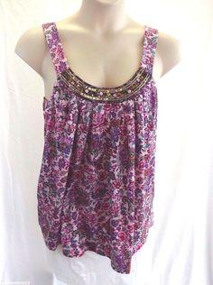 EXPRESS Dreamweight Cotton Pink Purple Floral Tank Top Size L VGUC Sequin Collar #Express #TankCami