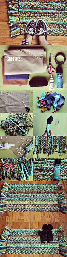 DIY地垫 . 利用不用的衣物或者布条子制作出个性的地垫