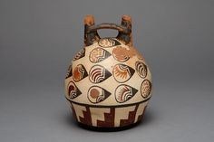Nazca South coast, Peru  Bridge Vessel Depicting Abstract Motifs, Likely Beans or Seeds, 180 B.C./A.D. 500