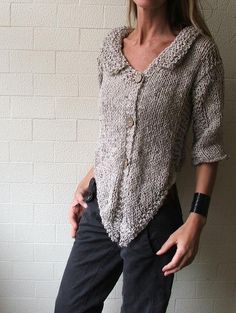 Oatmeal Alpaca blend tweed cardigan Ltd Edition by ileaiye on Etsy