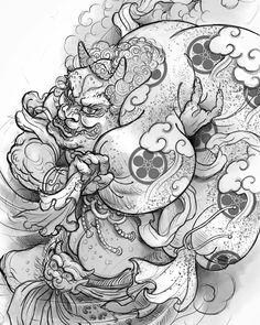 """Rafa Jurado trên Instagram: """"Desing available /Diseño disponible #tattoo #tatuaje #serieztattoo #sketch #sketching #draw #drawing #fujin #japan #irezumi…"""" Japanese Tattoo Art, Japanese Tattoo Designs, Tattoo Designs And Meanings, Irezumi, Japan Tattoo, Oriental Tattoo, R Tattoo, Japan Art, Asian Style"""