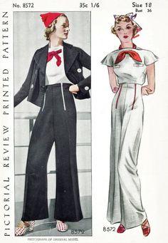 des années 30 les femmes vintage des années 1930 repro de couture patron marin blouse pantalon nautique veste buste 36 b36 picturale examen 8572 reproduction