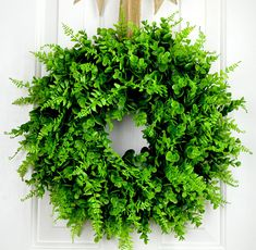 22 Inch Round Faux Farmhouse Fern and Boxwood Wreath with Bow FREE SHIPPING