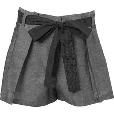Petites Paperbag Shorts ($43) ❤ liked on Polyvore featuring shorts, bottoms, pants, short, women's clothing, petite shorts, high-waisted shorts, paper bag shorts, highwaist shorts and high waisted polka dot shorts