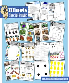 (free) Illinois State Printable Pack for learning about states for kids 3-10 years. Part of a series including all 50 states from www.livinglifeintentionally.blogspot.com