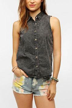 BDG Overdyed Sleeveless Oxford Shirt