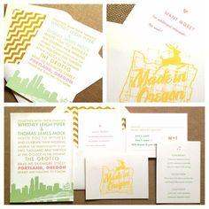 Portland Oregon City themed wedding invitations www.tiethatbindsweddings.com