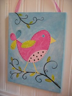 Custom Bird Painting 11 x 14 Kids girl kid room decor..baby nursery wall art..original canvas painting..hand painted artwork..11 x 14