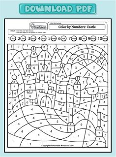 My free preschool math worksheets will help teach counting, numbers, and problem solving in exciting ways! Each is fun to color and full of activity ideas. Free Preschool, Preschool Worksheets, Number Worksheets, Colouring Pages, Coloring Books, Alphabet Coloring, Material Didático, Color By Numbers, Help Teaching