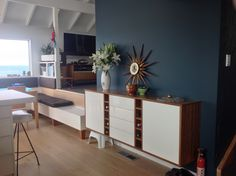 Wall mounted sideboard - perfect to keep wine etc close @ hand. All needs another coat of paint so nothing on walls yet