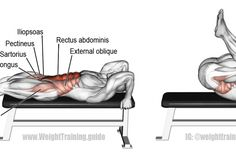 Lying leg and hip raise on bench