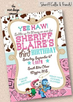 Sheriff Callie & Friends Birthday Party Invitation by MintDesignCo