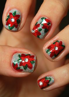 27 Christmas Nail Designs. This is a little beyond my nail art skill level, but SO pretty! Detailed and fun, without looking too busy/tacky!