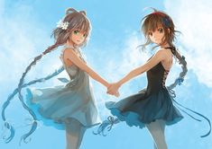 Anime art best friends. I love the style of this, really soft and beautiful :)