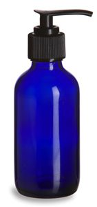 Specialty Bottle - 4 oz Cobalt Blue Boston Round Glass Bottle with Black Pump, $1.26 (http://www.specialtybottle.com/glass-bottles/blue-boston-rounds/pumps/4oz-brb4p)