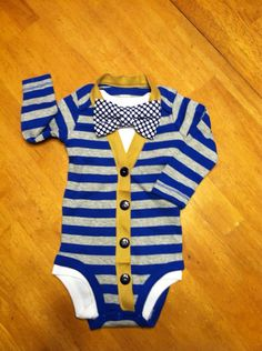 Cardigan Onesie and Bowtie set Baby Boys by EllerbysChicBoutique, $32.00